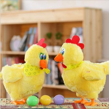 1pcs 30cm Funny Doll Raw Chicken Hens will lay eggs of chickens crazy singing&dancing electric pet plush toys Gifts for Children