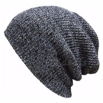 Okdeals 1PC Fashion Knit ponytail beanie mens hats Winter Warm hats for women Slouchy Crochet Knitted Cap thick beanie hat
