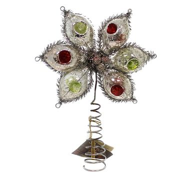 Christmas GLASS INDENT ONION TREE TOPPER Glass Old World Retro Sn6748