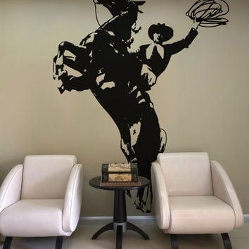 Vinyl Wall Decal Sticker Wild West Horse and Cowboy #OS_AA427