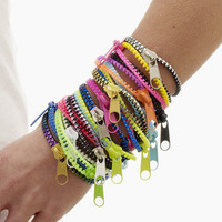 Two-Tone Neon Pink and Neon Yellow Zipper Bracelet