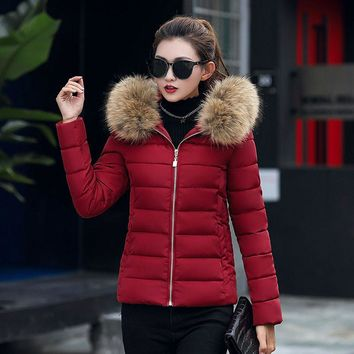96f60c56a23 Fashion Solid Women Casual Thicker Winter Slim Down Jacket Coat Overcoat  large raccoon fur jacket corduroy