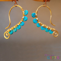 "Hammered wire wrapped with turquoise, 1-3/4"" Earring Gold Or Silver"