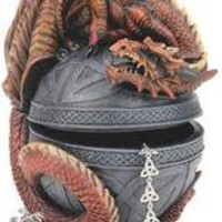 Dragon Protector of the Celtic Orb Sculptural Box - CL551022 - Design Toscano