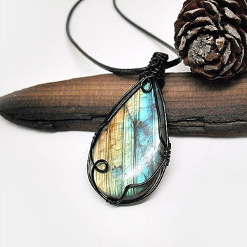 OOAK Wire wrapped Labradorite necklace, multicolored Labradorite pendant, black copper wire wrap, unique necklace for women