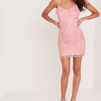 Missguided - Strappy Bodycon Lace Dress Pink