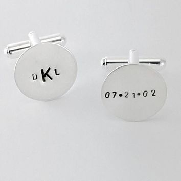 Monogram Personalized Cufflinks Sterling Silver Hand Stamped