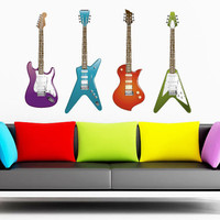 Fulcolor Wall Decal Vinyl Sticker Decals Art Decor Design Guitars 4 Colors Music Electro Songs Guys Boy Rock Bedroom Office Dorm (rcol11)