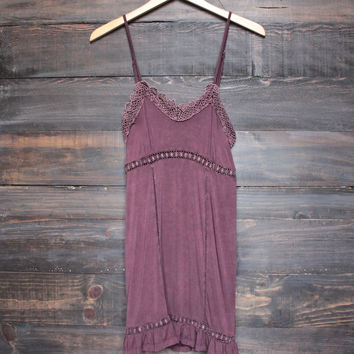 BSIC - acid wash dress with crochet lace insets - burgundy