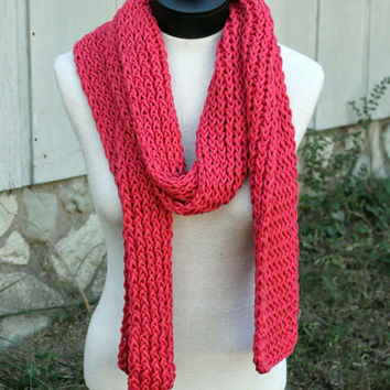 Loom Knit Scarf - Red/Coral Color