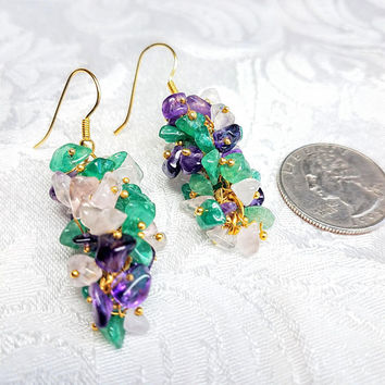 Vintage Natural Stone Cluster Earrings, Rose Quartz, Jade? and Amethyst Dangle Earrings, Costume Jewelry Chunky Pink Purple Green Jewelry