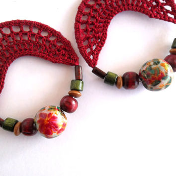 Crochet Earrings, Blossom Spring Hoops, Burgundy Red Bohemian Earrings with Olive Green Wooden Coconut Beads,Brown Red Green Floral Earrings