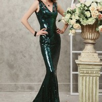 Trumpet/Mermaid V-neck Sequined Sweep Train Dress at Dresseshop