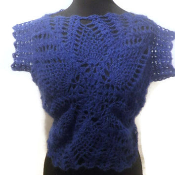 Royal Blue kid mohair hand crochet sweater, mid-drift sweater, your size