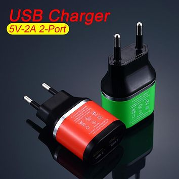 High Quality EU Plug Dual USB 5V/2A Wall Charger 2 Ports Travel Adapter Charger for iPhone for Huawei for Cell Phone USB Charger