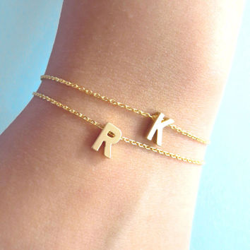 Personalized, Letter, Initial, Gold, Silver, Anklet, Capital, Letter, Alphabet, Ankle, Jewelry, Birthday, Friendship, Best friend, Gift