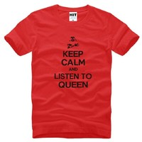 New Designer KEEP CALM AND LISTEN TO QUEEN Band T Shirt Men Cotton Short Sleeve Printed Men's T-Shirt Fashion Male Rock Pop Tops