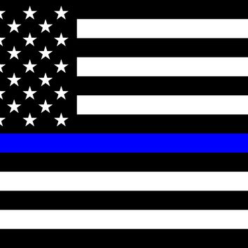 "Blue Lives Matter - Police Thin Blue Line Flag - Sticker - 5"" x 7"""