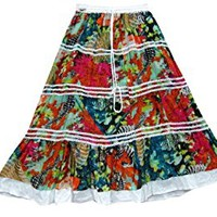 Mogul Women Bohemian Skirts Red Green Floral Print Tiered Skirt Cotton Boho Skirts