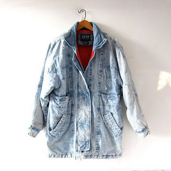 Vintage 80s acid wash coat. Cocoon coat. Washed out jean jacket. Long denim coat. Bleached out coat.