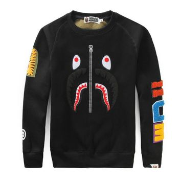 Couple Peep Toe Embroidery Patchwork Men's Fashion Round-neck Long Sleeve Hoodies [429894303780]