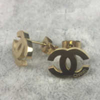 Chanel Women Fashion Trending Logo Stud Earring Jewelry Golden G