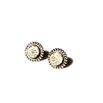 Stud Earrings- Wood and Silver