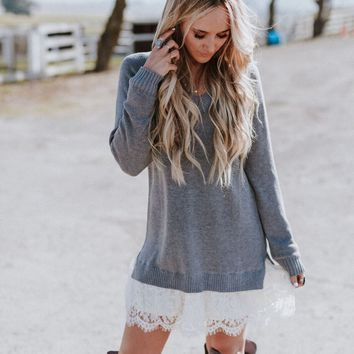 Monarch Lace Hem Sweater Dress - Heather Gray