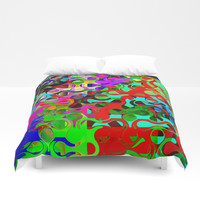 Modern Multi-colored Pattern Abstract Duvet Cover by Sheila Wenzel