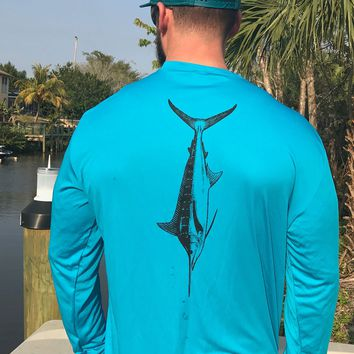 Turquoise Marlin UPF Dry Fit Long Sleeve Tee