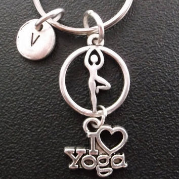 I Love Yoga theme.....keychain, bag charm, purse charm, monogram personalized item No.302