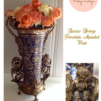 Sevres Style Rococo Gilt Bronze Mounted Porcelain Vase Made In France