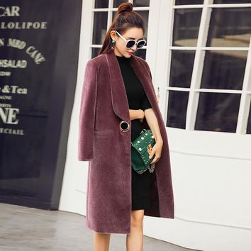 BEAUTY STEEL 2017 Winter Fox Fur Coat With Long Sleeves And High Quality Artificial Leather Long Sleeve Fashion Jacket