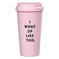 I Woke Up Like This Travel Mug in Blush Pink