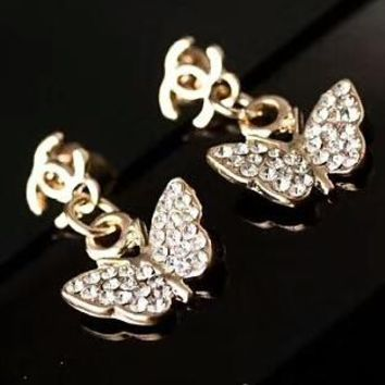 CHANEL New Fashion Diamond Pearl Butterfly Earrings Accessories Golden