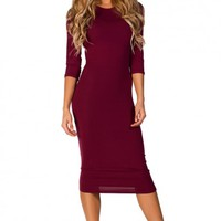 Margo Burgundy Red 34 Sleeve Jersey Bodycon Midi Dress