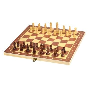 Wooden Chess Set International Chess Entertainment Game Chess Set with Folding Board