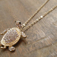 Gold Sea Turtle Necklace - Turtle Necklace - Rhinestone Turtle Necklace