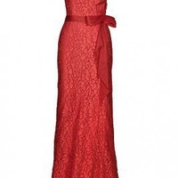 Tony Ward Lace Cap Sleeve Gown (Red and Natural) - Jimmy's New York