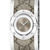Gucci Women's YA112425 Twirl Stainless Steel Bangle Watch with Fabric Band