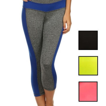 Active Cropped Leggings - Gray/Black
