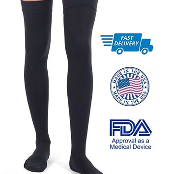 Jomi Compression Thigh High Collection, 20-30mmHg Surgical Weight Closed Toe 240 (X-Large, Black)