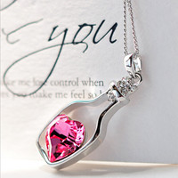 Heart in a Bottle Crystal Pendant