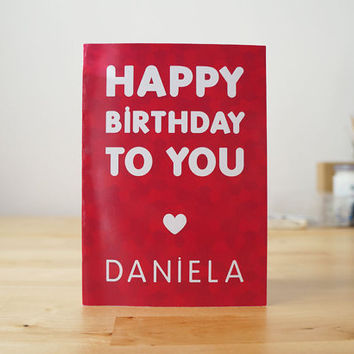 Happy Birthday card - PERSONALIZED - Name and color