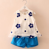 Toddler Girls Blue Summer Daisy Embroidery Floral Top Shorts Set. Girls Outfit