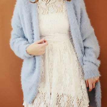 Blue Long Sleeve Mohair Winter Cardigan