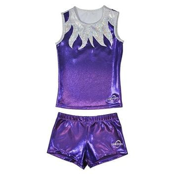 Obersee Cheer Dance Tank and Shorts Set - Purple Flames