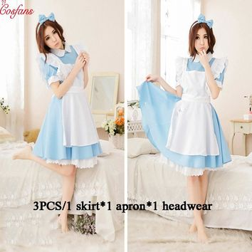 Alice cosplay Halloween Female Adult Anime Alice in Wonderland Blue Evening Dress Alice Dream Female Maid Lolita Cosplay Costume
