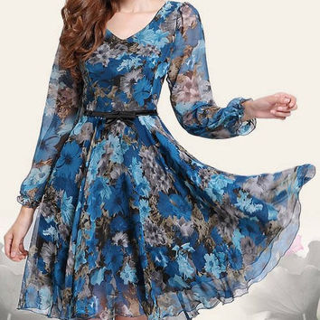 Floral Printed V-Neck Chiffon Knee-Length Dress