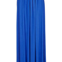 Blue Jersey Pleated Maxi - Blue